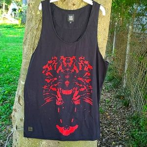 Kaviar men's black graphic Tank with red Leppard